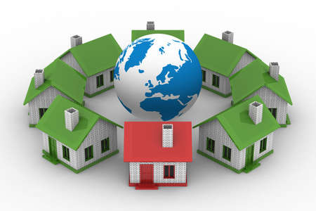 real leader: houses standing around globe on white background. Isolated 3D image