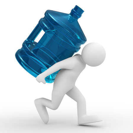 carry: men carry bottle on back. Isolated 3D image
