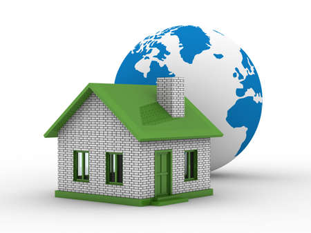 Small house and globe on  white background. Isolated 3D image photo