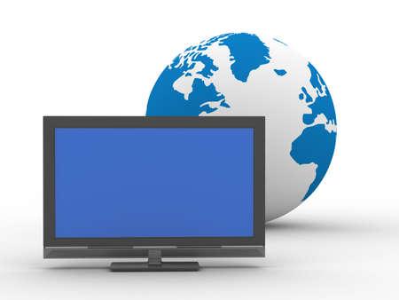 TV and globe on  white background. Isolated 3D image photo