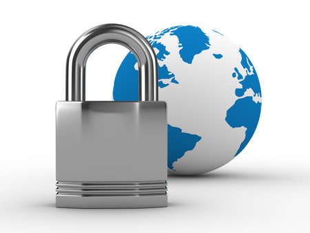 Lock and globe on  white background. Isolated 3D image photo