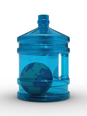 Globe in bottle on white background. Isolated 3D image photo