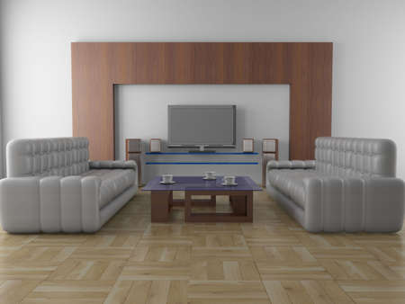 lcd display: Interior of a living room. 3D image.