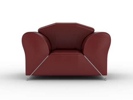 Isolated red leather armchair. An interior. 3D image. photo