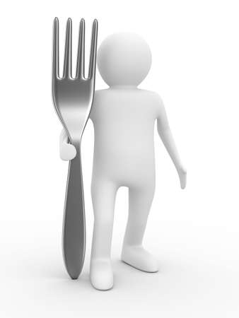 foodie: man with fork on white background. Isolated 3D image Stock Photo