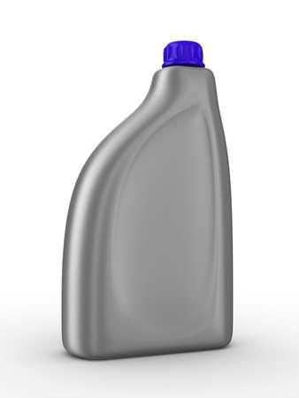 petrol can: Botella de aceite lubricante sobre fondo blanco. Imagen aislados 3D