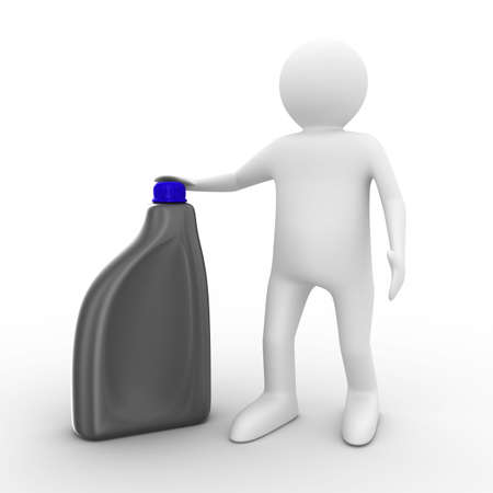 oil can: man with oil bottle on white background. Isolated 3D image