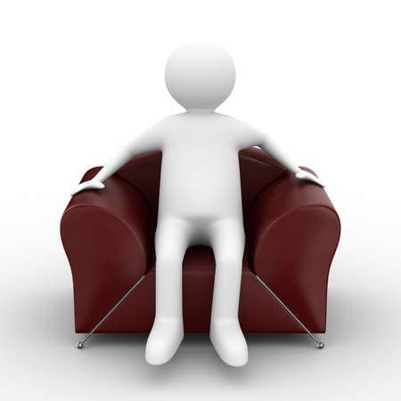 red couch: person sitting in armchair. Isolated 3D image Stock Photo