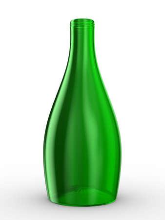 cruet: Green bottle on white background. Isolated 3D image