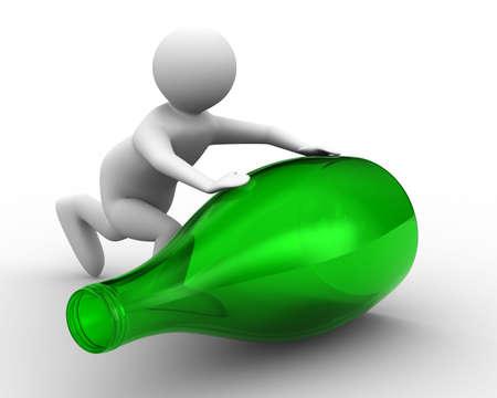 cruet: men push bottle on white background. Isolated 3D image Stock Photo