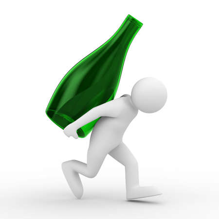 cruet: men carry bottle on back. Isolated 3D image