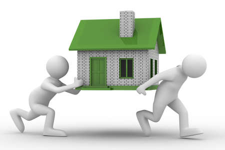 housing problems: two men carry house. Isolated 3D image Stock Photo