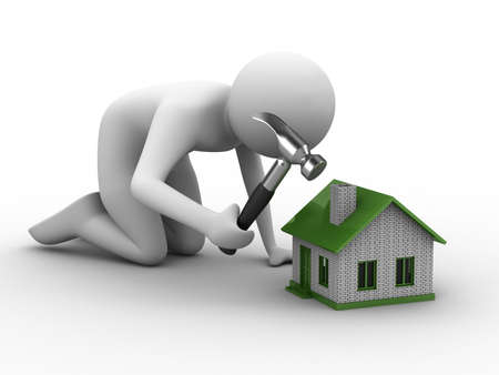 realestate: House building on white background. Isolated 3D image