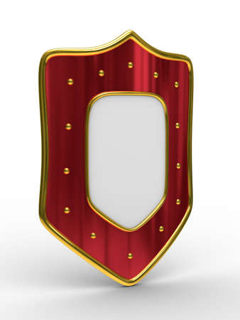 red shield on white background. isolated 3D image Stock Photo - 6158785