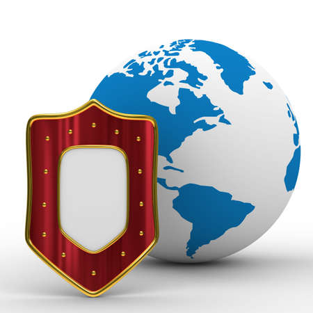 globe and shield on white background. isolated 3D image Stock Photo - 6158794