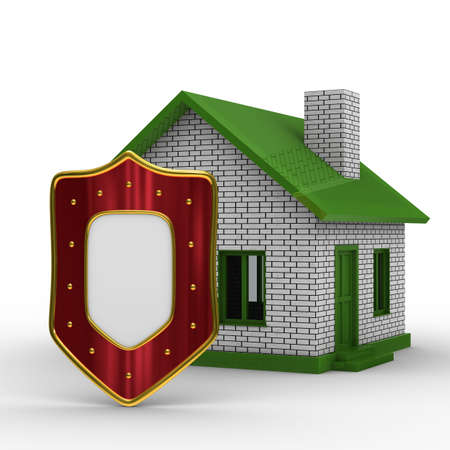 buckler: house and shield on white background. isolated 3D image