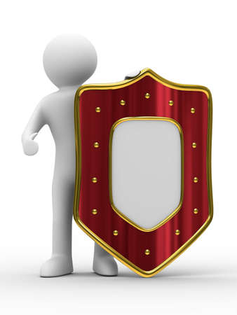 buckler: man and shield on white background. isolated 3D image