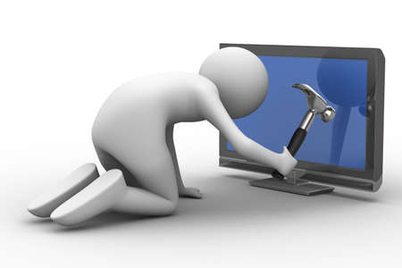 computer repair service: TV technical service. Isolated 3D image