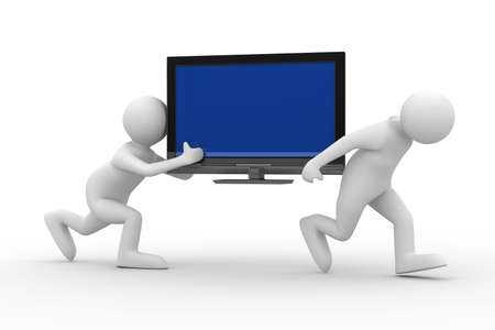 move: two man carry  TV. Isolated 3D image