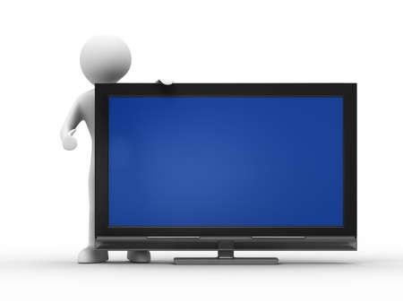hombre flaco: TV y hombre sobre fondo blanco. Imagen aislados 3D