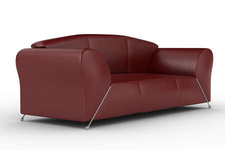 Isolated red leather sofa. An interior. 3D image. photo