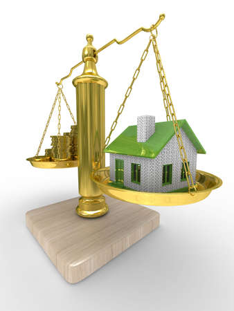 house and cashes on scales. Isolated 3D image photo