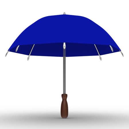 blue umbrella on white background. Isolated 3D image photo