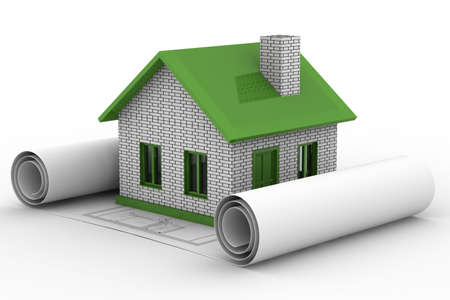 Small house on  white background. Isolated 3D image Stock Photo - 6188432
