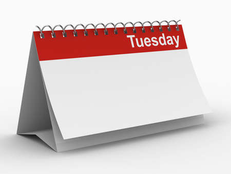 tuesday: Calendar for tuesday on white background. Isolated 3D image