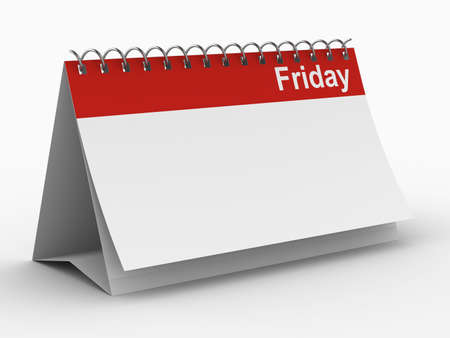 Calendar for friday on white background. Isolated 3D image photo