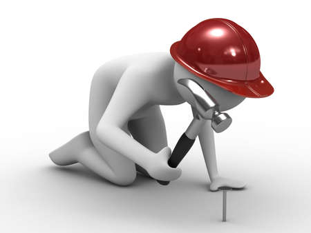 man hammer in nails. Isolated 3D image Stock Photo - 6234161