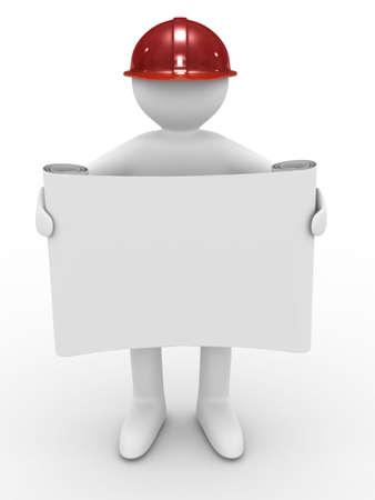 casco rojo: Ingeniero en casco sobre fondo blanco. Imagen aislados 3D