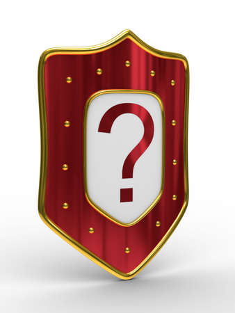 buckler: red shield on white background. isolated 3D image