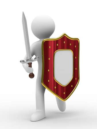 cavaliere medievale: Cavaliere con la spada su sfondo bianco. Immagine 3D isolato