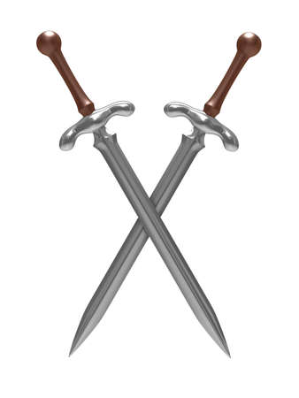 iron defense: two sword on white background. Isolated 3D image Stock Photo