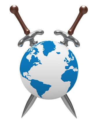 iron defense: two sword and globe on white background. Isolated 3D image  Stock Photo