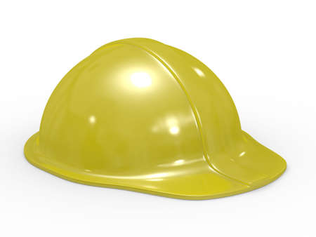 buckler: yellow helmet on white background. Isolated 3D image