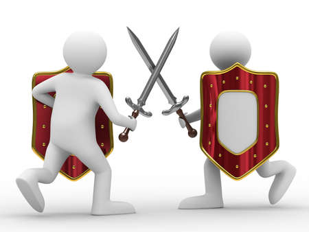 Fight on swords. Isolated 3D image on white background photo