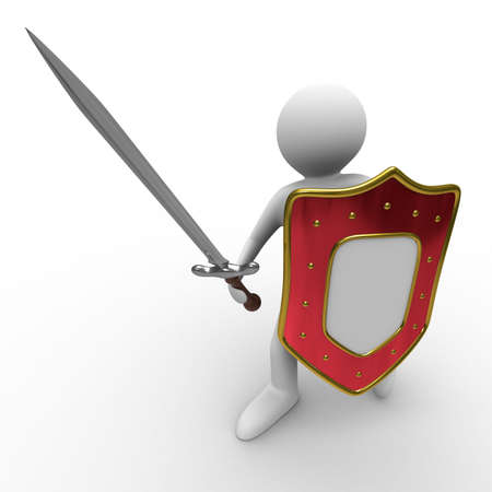 military shield: knight with sword on white background. Isolated 3D image