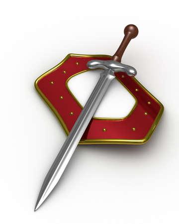 espadas medievales: espada y un escudo sobre fondo blanco. Imagen aislados 3D