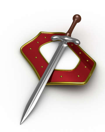 iron defense: sword and shield on white background. Isolated 3D image