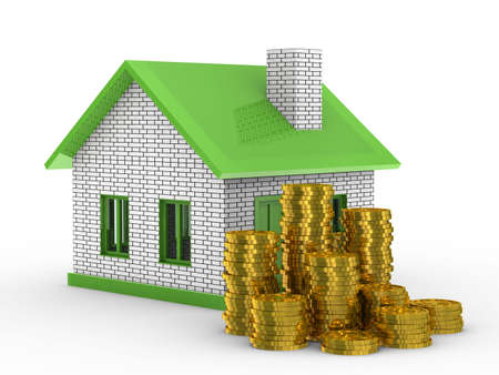realestate: Small house and cash on white background. Isolated 3D image