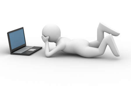 man look in computer on white background. Isolated 3D image photo