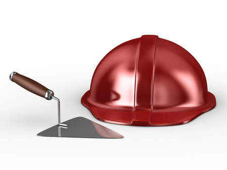 new construction trowel and red helmet isolated on white. 3D image