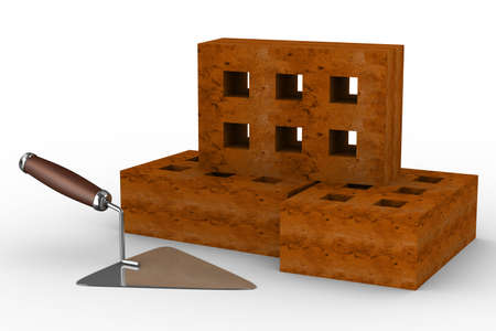 darby: construction trowel and bricks on white. 3D image