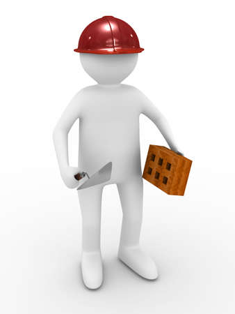 builder on white background. Isolated 3D image photo