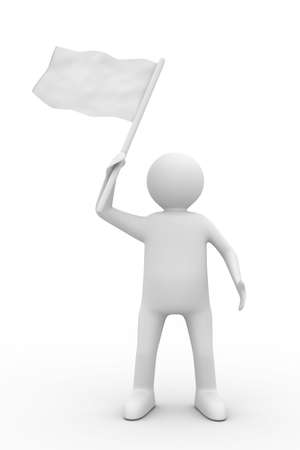 man waves flag on white background. Isolated 3D image Stock Photo - 6335953