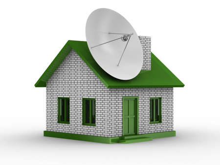 satellite aerial on house. Isolated 3D image Stock Photo - 6335954