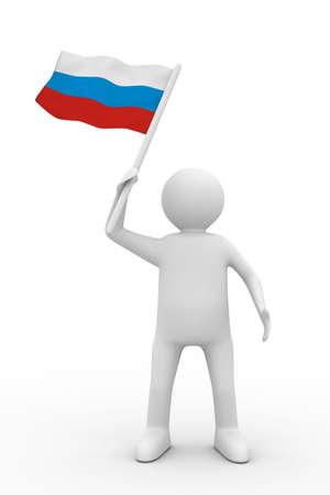 man waves flag on white background. Isolated 3D image Stock Photo - 6363421