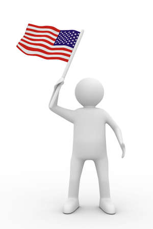 man waves flag on white background. Isolated 3D image Stock Photo - 6363420